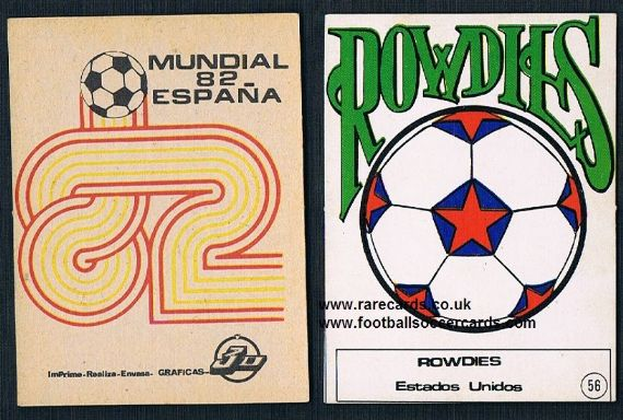 1982 NASL Miami Florida Tampa Bay Rowdies emblem card from Spain